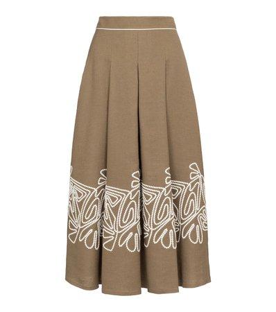 Loro Piana - Dolly high-rise linen midi skirt | Mytheresa