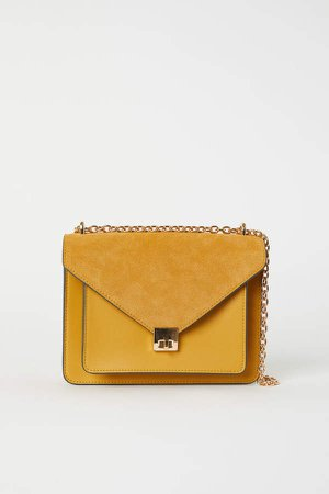 Shoulder Bag with Suede Detail - Yellow