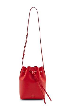 Mini Leather Bucket Bag in Red by Mansur Gavriel   Moda Operandi