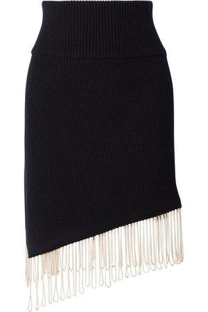 CALVIN KLEIN 205W39NYC | Asymmetric fringed ribbed-knit skirt | NET-A-PORTER.COM