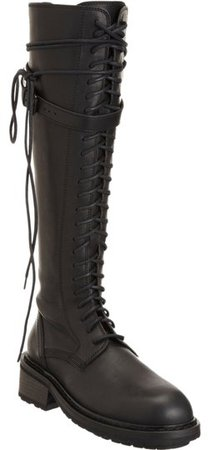 Ann Demeulemeester Black Lace Up Knee High Leather Combat Boots/Booties Size US 8 Regular (M, B) - Tradesy