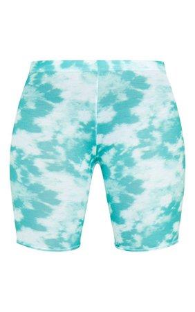 Basic Green Tie Dye Cycle Shorts | Shorts | PrettyLittleThing