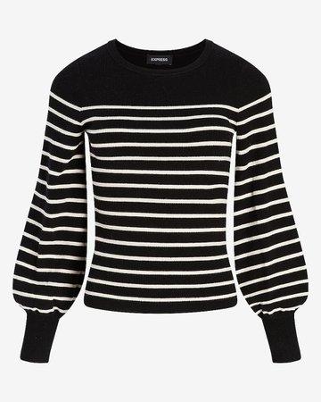 Striped Balloon Sleeve Sweater   Express