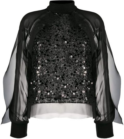 Sequin Embroidered Sheer Blouse