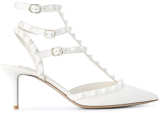 White Rockstud 70 leather pumps