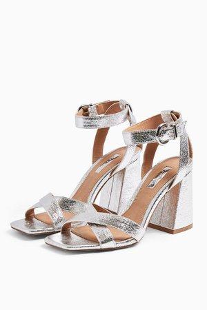SACHA Silver Ankle Tie Block Heel Sandals | Topshop