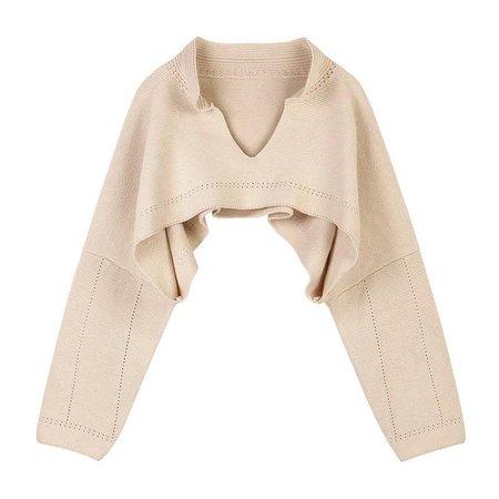Beige Oversized Knit Raglan Sleeve Sweater Top