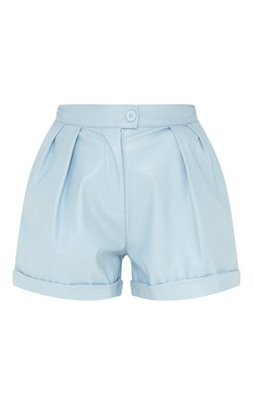 Baby Blue Faux Leather Pleat Detail Shorts | PrettyLittleThing USA