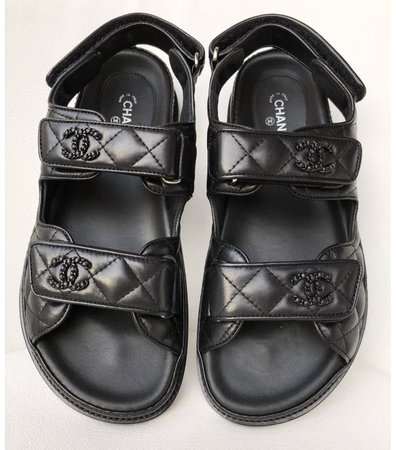 Chanel black quilted leather dad sandals