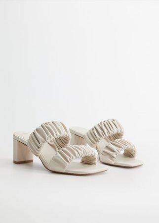 Ruched strips sandals - Plus sizes | Violeta by Mango United Kingdom