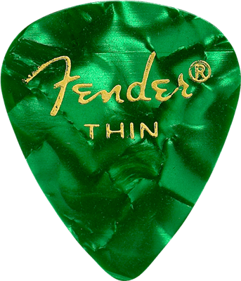 Fender Plumilla 351 Shape, Green Moto, Thin (12) guitar pick