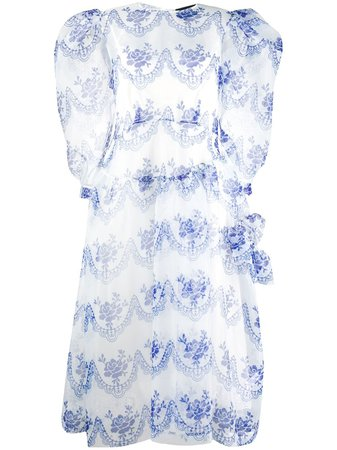 Shop blue Simone Rocha tulle overlay pouf sleeve midi dress with Express Delivery - Farfetch