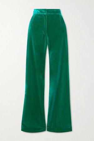 Green Cotton-velvet flared pants   Dries Van Noten   NET-A-PORTER