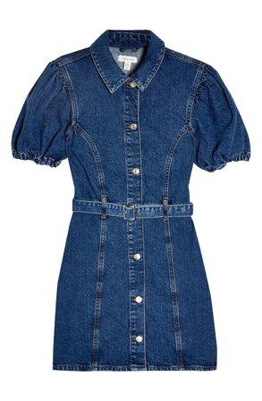 Topshop Puff Sleeve Belted Denim Minidress | Nordstrom