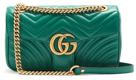 Gg Marmont Quilted Leather Shoulder Bag - Womens - Green