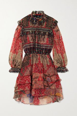 Red Ruffled printed silk-crepon mini dress | Etro | NET-A-PORTER