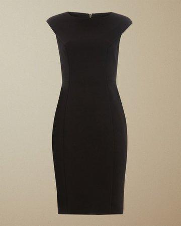 Boat neck midi dress - Black | Clothing | Ted Baker