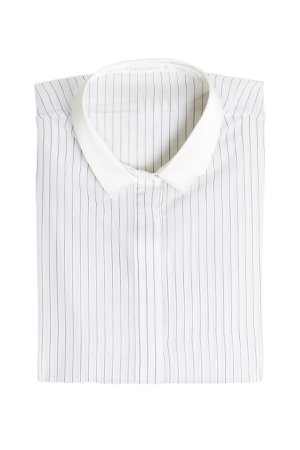 Striped Voile Shirt in Cotton and Silk Gr. L