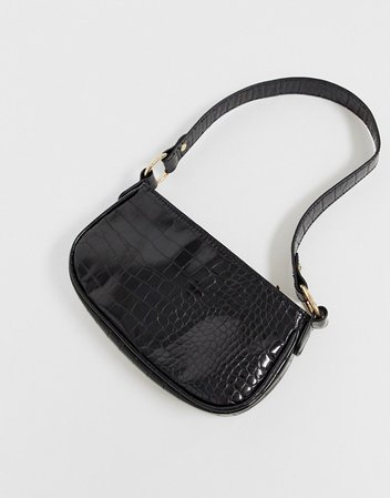 ASOS DESIGN croc effect 90s shoulder bag in black | ASOS
