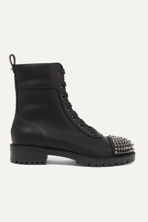 Black Spiked leather ankle boots | Christian Louboutin | NET-A-PORTER