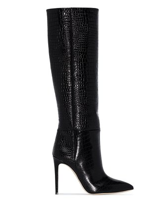 Paris Texas crocodile-effect 105mm knee-high Boots - Farfetch