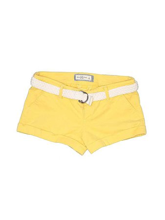 Abercrombie & Fitch Solid Yellow Khaki Shorts