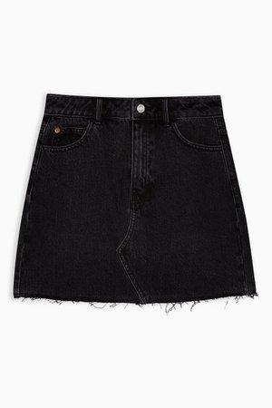 Washed Black High Waisted Denim Skirt | Topshop