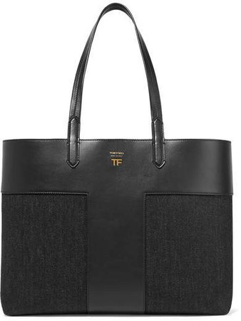 T Leather And Denim Tote - Black