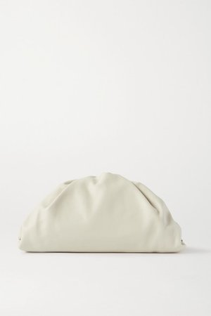 The Pouch Large Gathered Leather Clutch - Off-white