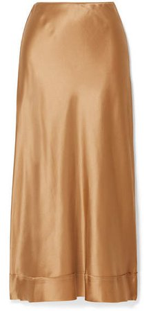 Mathews - Stella Silk-satin Midi Skirt - Gold