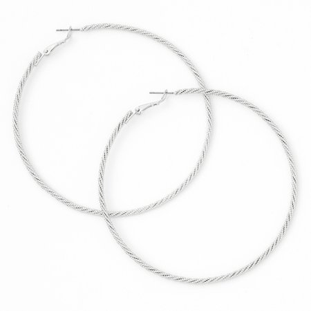 Silver 80MM Laser Cut Twisted Hoop Earrings | Claire's US
