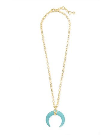 Rebecca Gold Large Long Pendant Necklace in Variegated Turquoise Magnesite   Kendra Scott