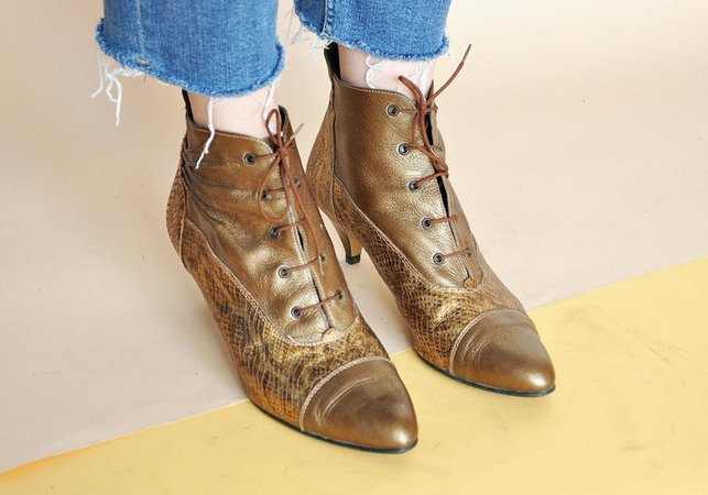 80s GOLDEN booties LEATHER booties MOD booties snake skin | Etsy