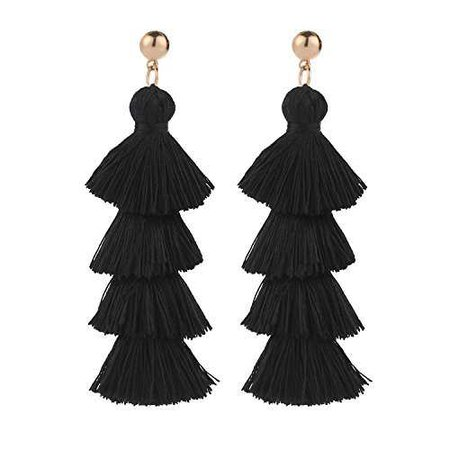 Amazon.com: BaubleStar Fashion Gold Tassel Dangle Earrings Layered Long Bonita Tiered Black Thread Tassel Drop Statement Jewelry for Women Girls BAN0054B1: Jewelry