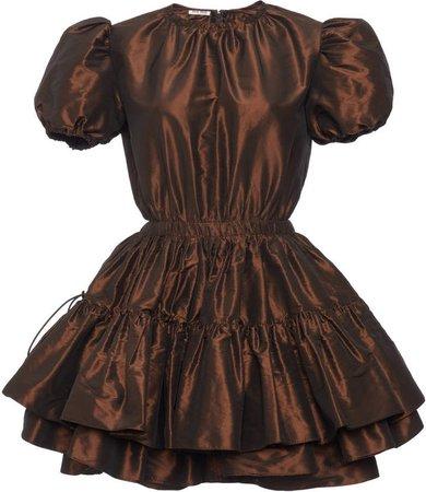 Short Sleeve Taffeta Tiered Ruffle Mini Dress