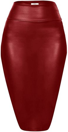 *clipped by @luci-her* Faux Leather Pencil Skirt Below Knee Length Skirt Midi Bodycon Skirt Womens (Size Small, Black Leather) at Amazon Women's Clothing store