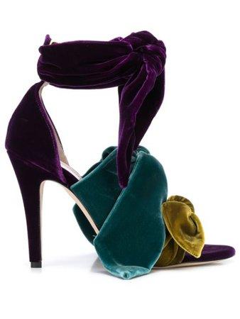 Pink Silvia Tcherassi Bowie Velvet Sandals | Farfetch.com
