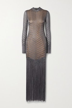 Fringed Metallic Crochet-knit Gown - Gunmetal