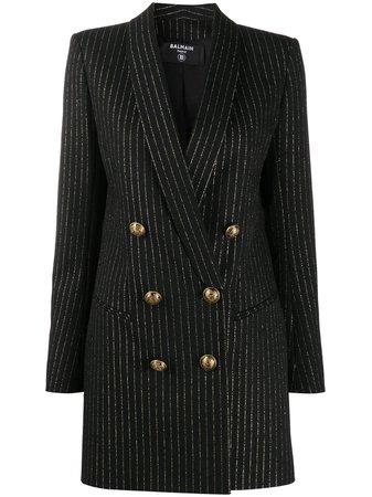 Balmain Robe Rayée à Design De Blazer - Farfetch