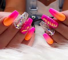 hot pink & orange nails