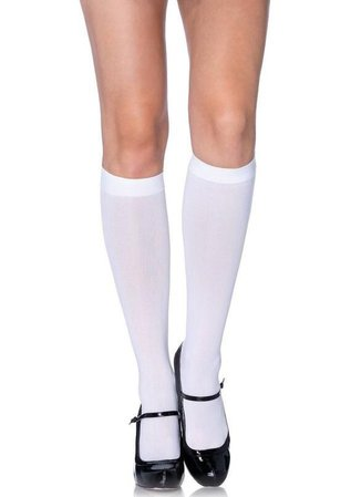 Sugarpuss WHITE Knee High SOCKS, Opaque Stockings