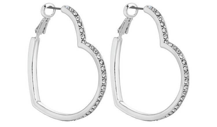 Buy Lipsy Silver Colour Crystal Heart Hoop Earrings | Womens earrings