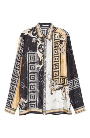 Versace Collection Print Silk Shirt   Nordstrom