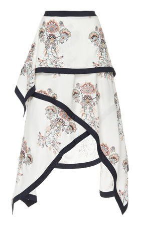 JW Anderson Draped Printed Crepe de Chine Skirt Size: 14