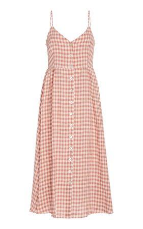 Gingham Linen Midi Dress by Mansur Gavriel   Moda Operandi