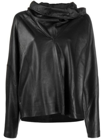 Shop black Remain wide-collar pullover leather top with Express Delivery - Farfetch