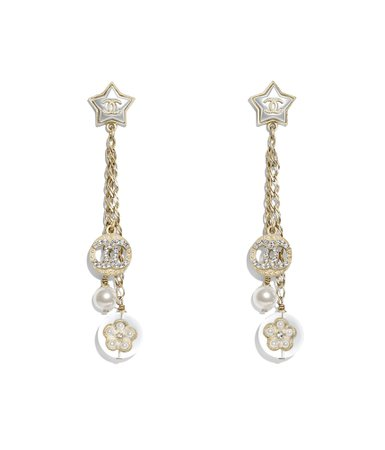 Earrings, metal, glass pearls, imitation pearls, diamanté & resin, gold, pearly white, crystal & transparent - CHANEL