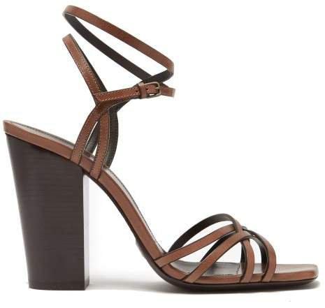 Oak 100mm Block Heel Strappy Leather Sandals - Womens - Tan