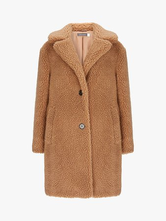 Mint Velvet Teddy Faux Fur Coat, Camel at John Lewis & Partners