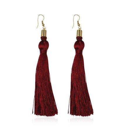 Burgundy Tassel Earrings – Bloom + Grace